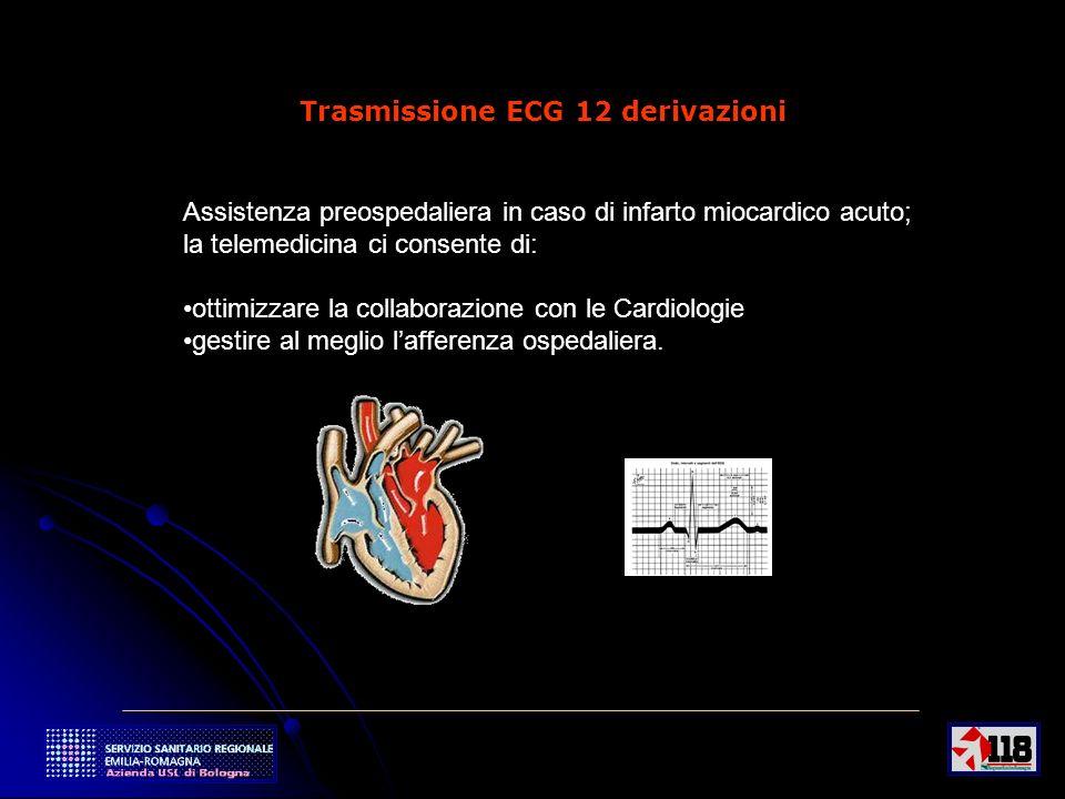 10 Trasmissione ECG 12 derivazioni Assistenza preospedaliera in caso di infarto miocardico acuto; la telemedicina ci consente di: ottimizzare la collaborazione con le Cardiologie gestire al meglio lafferenza ospedaliera.