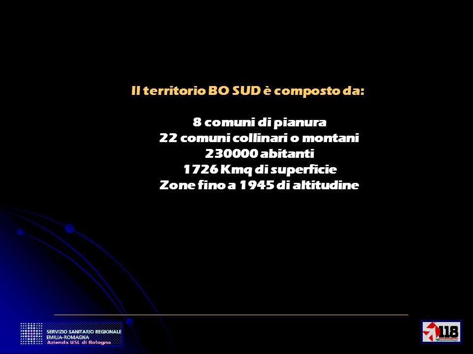 3 Il territorio BO SUD è composto da: 8 comuni di pianura 22 comuni collinari o montani 230000 abitanti 1726 Kmq di superficie Zone fino a 1945 di altitudine