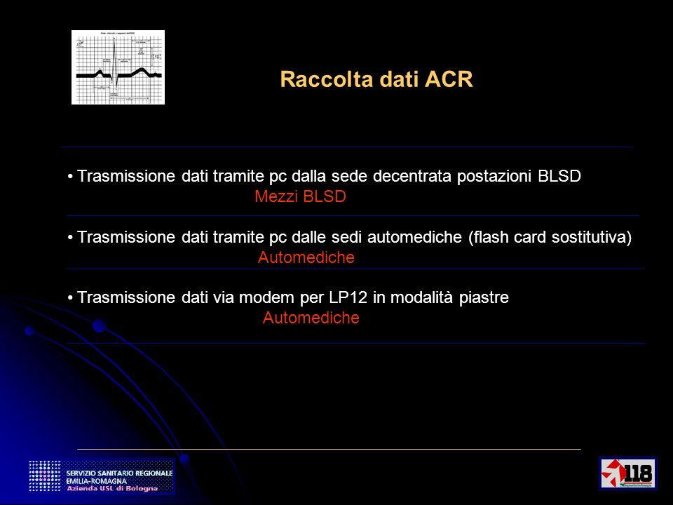 8 Raccolta dati ACR Trasmissione dati tramite pc dalla sede decentrata postazioni BLSD Mezzi BLSD Trasmissione dati tramite pc dalle sedi automediche (flash card sostitutiva) Automediche Trasmissione dati via modem per LP12 in modalità piastre Automediche