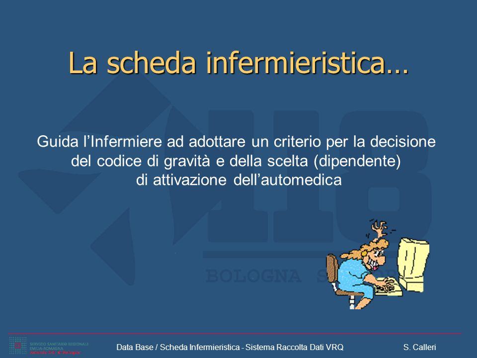 Data Base / Scheda Infermieristica - Sistema Raccolta Dati VRQ S. Calleri La scheda infermieristica… Guida lInfermiere ad adottare un criterio per la