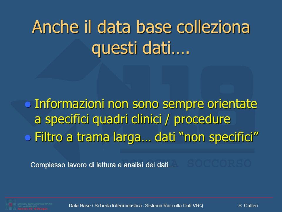 Data Base / Scheda Infermieristica - Sistema Raccolta Dati VRQ S. Calleri Anche il data base colleziona questi dati…. Informazioni non sono sempre ori