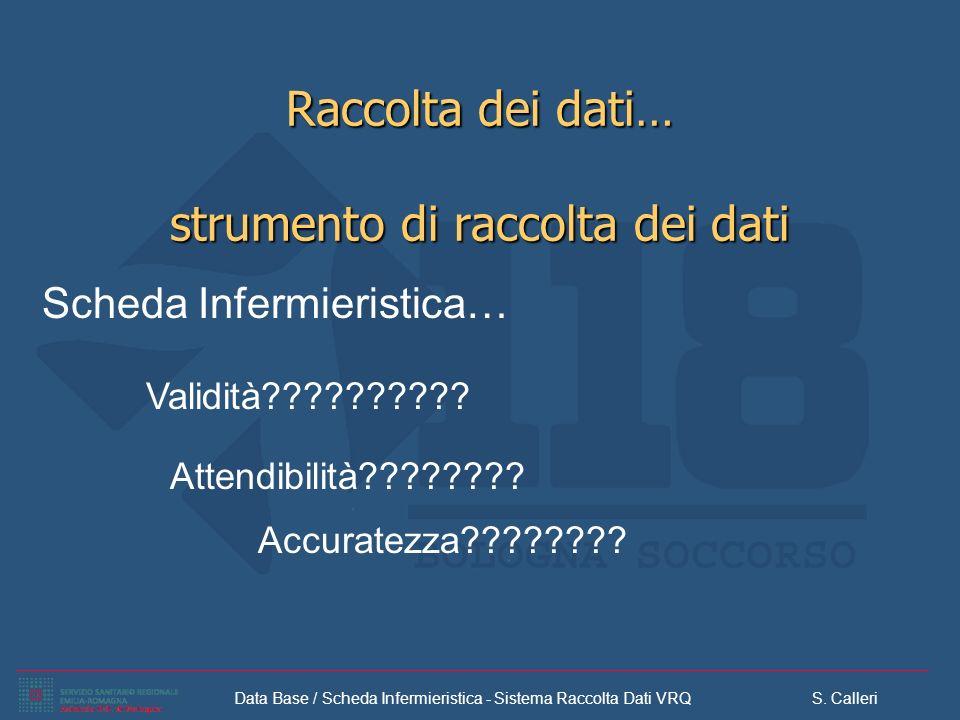 Data Base / Scheda Infermieristica - Sistema Raccolta Dati VRQ S. Calleri Raccolta dei dati… strumento di raccolta dei dati Scheda Infermieristica… At