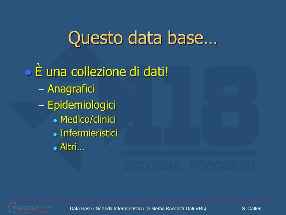Data Base / Scheda Infermieristica - Sistema Raccolta Dati VRQ S. Calleri Questo data base… È una collezione di dati! È una collezione di dati! – Anag