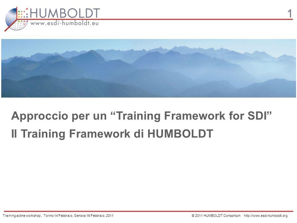 1 Approccio per un Training Framework for SDI Il Training Framework di HUMBOLDT Training actine workshop, Torino 14 Febbraio, Genova 15 Febbraio, 2011 © 2011 HUMBOLDT Consortium http://www.esdi-humboldt.org