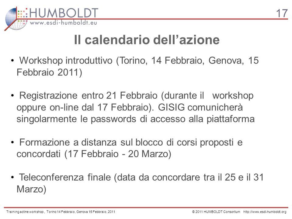 17 Training actine workshop, Torino 14 Febbraio, Genova 15 Febbraio, 2011 © 2011 HUMBOLDT Consortium http://www.esdi-humboldt.org Workshop introduttivo (Torino, 14 Febbraio, Genova, 15 Febbraio 2011) Registrazione entro 21 Febbraio (durante il workshop oppure on-line dal 17 Febbraio).