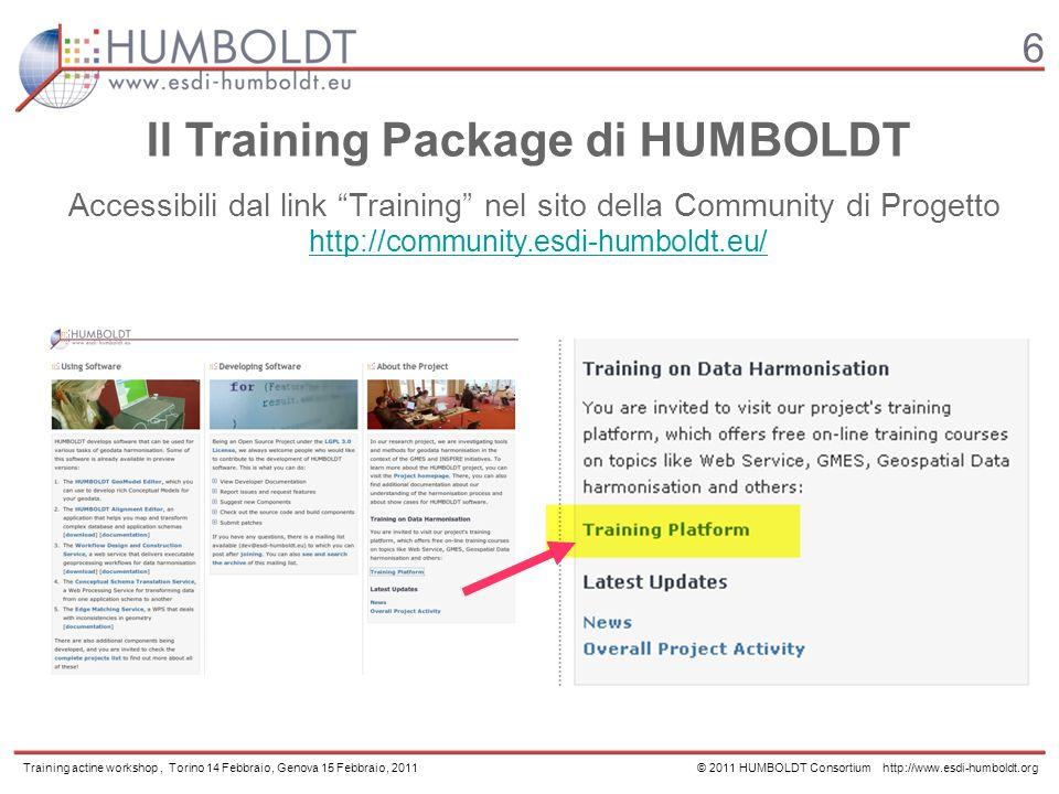 6 Il Training Package di HUMBOLDT Accessibili dal link Training nel sito della Community di Progetto http://community.esdi-humboldt.eu/