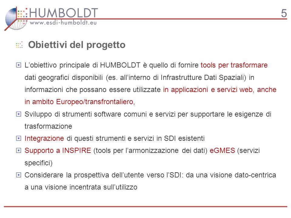 5 Obiettivi del progetto Lobiettivo principale di HUMBOLDT è quello di fornire tools per trasformare dati geografici disponibili (es.
