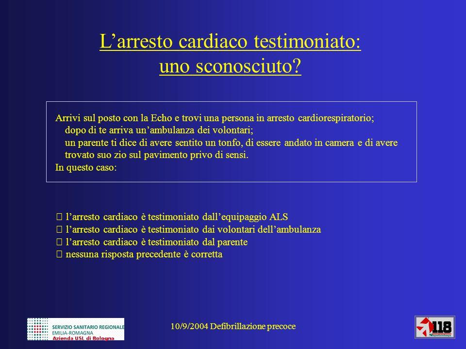 10/9/2004 Defibrillazione precoce Larresto cardiaco testimoniato: uno sconosciuto? Arrivi sul posto con la Echo e trovi una persona in arresto cardior