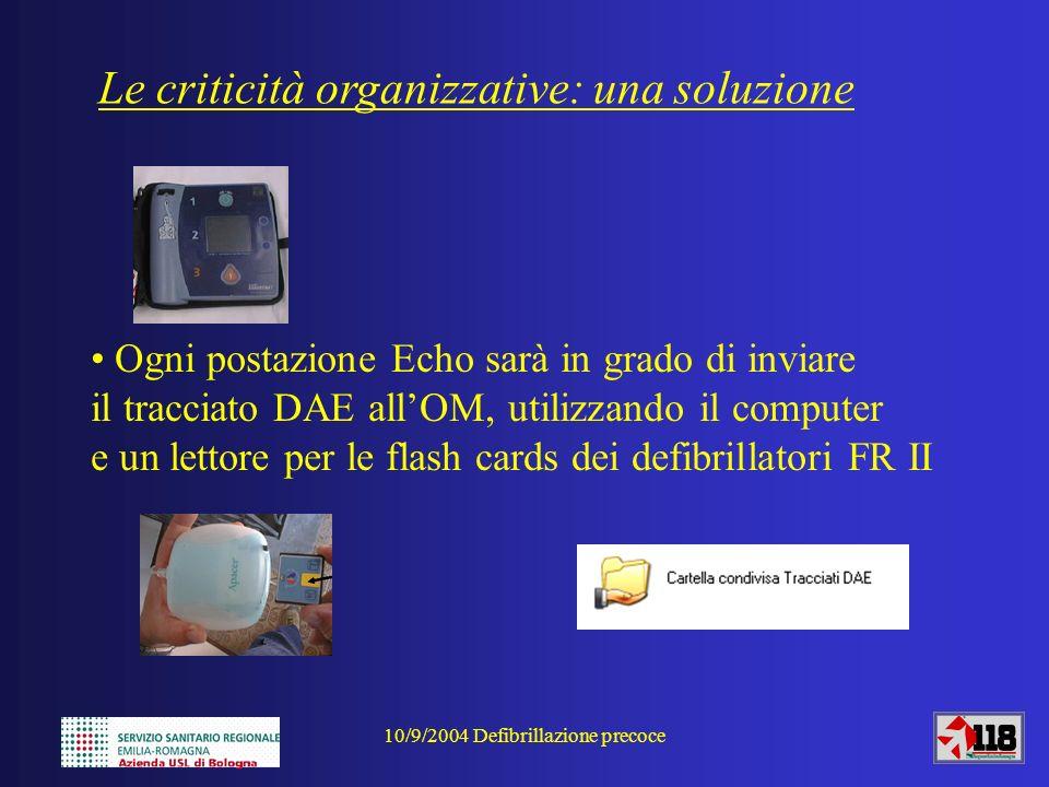 10/9/2004 Defibrillazione precoce Ogni postazione Echo sarà in grado di inviare il tracciato DAE allOM, utilizzando il computer e un lettore per le fl