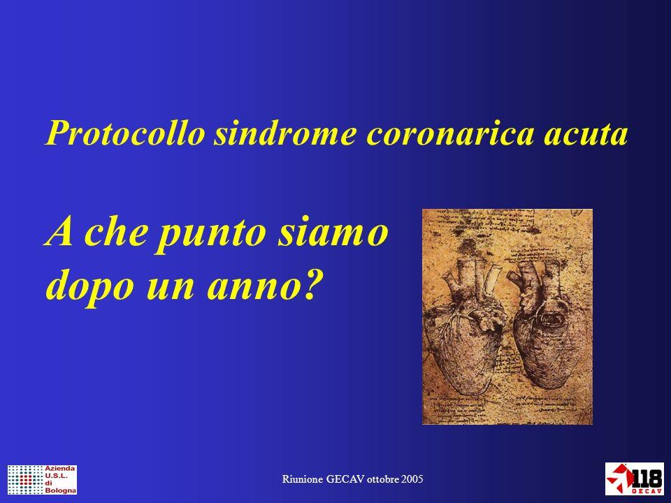 Riunione GECAV ottobre 2005 Protocollo sindrome coronarica acuta A che punto siamo dopo un anno?