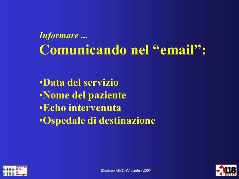 Riunione GECAV ottobre 2005 Informare...
