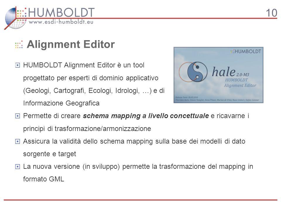 10 Alignment Editor HUMBOLDT Alignment Editor è un tool progettato per esperti di dominio applicativo (Geologi, Cartografi, Ecologi, Idrologi, …) e di Informazione Geografica Permette di creare schema mapping a livello concettuale e ricavarne i principi di trasformazione/armonizzazione Assicura la validità dello schema mapping sulla base dei modelli di dato sorgente e target La nuova versione (in sviluppo) permette la trasformazione del mapping in formato GML