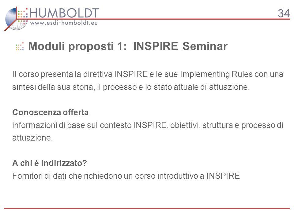 34 Il corso presenta la direttiva INSPIRE e le sue Implementing Rules con una sintesi della sua storia, il processo e lo stato attuale di attuazione.