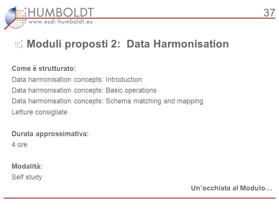 37 Moduli proposti 2: Data Harmonisation Come è strutturato: Data harmonisation concepts: Introduction Data harmonisation concepts: Basic operations D