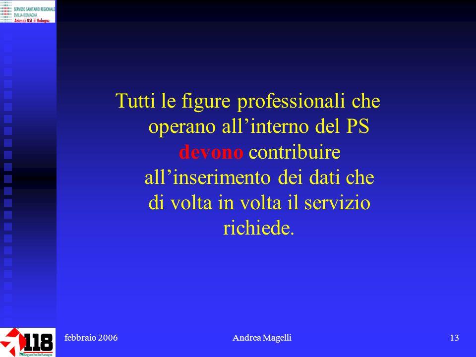 febbraio 2006Andrea Magelli13 Tutti le figure professionali che operano allinterno del PS devono contribuire allinserimento dei dati che di volta in volta il servizio richiede.