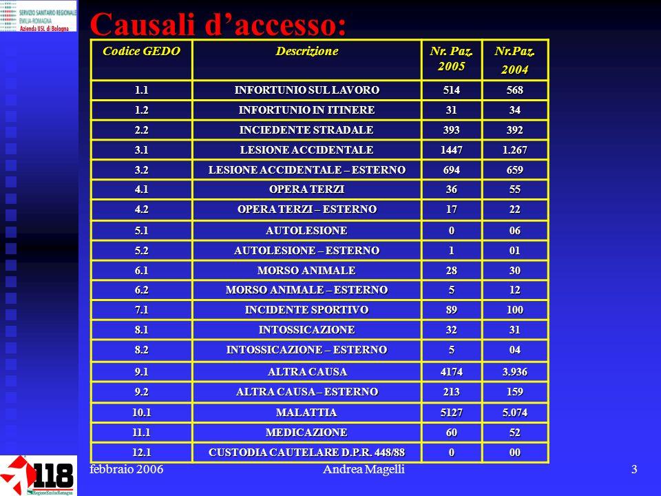 febbraio 2006Andrea Magelli3 Causali daccesso: Codice GEDO Descrizione Nr.
