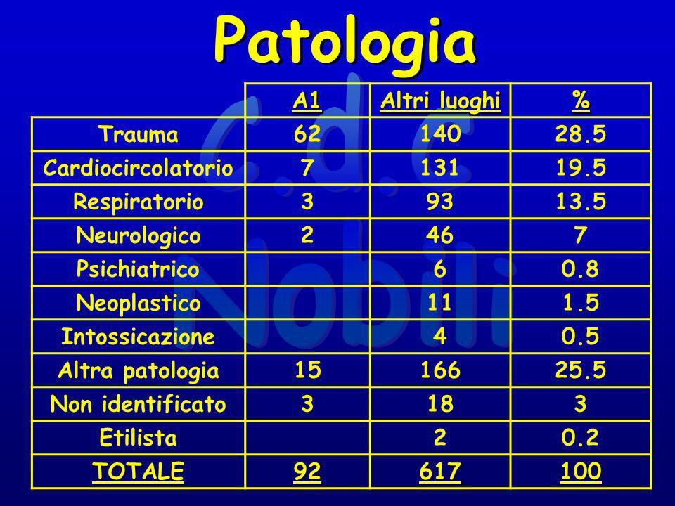 A1 Altri luoghi % Trauma6214028.5 Cardiocircolatorio713119.5 Respiratorio39313.5 Neurologico2467 Psichiatrico60.8 Neoplastico111.5 Intossicazione40.5