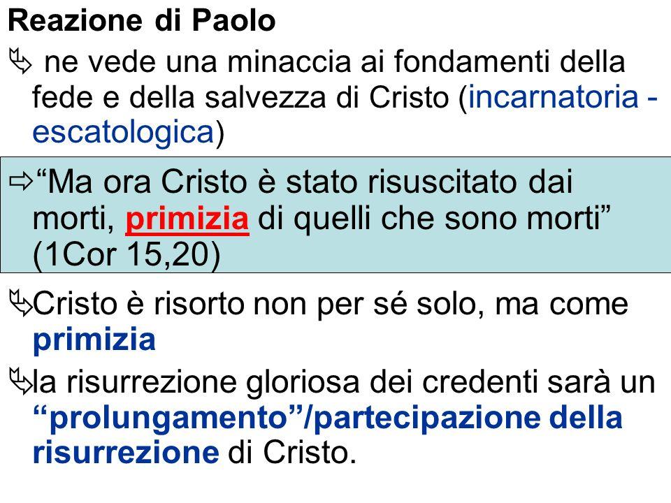 Reazione di Paolo ne vede una minaccia ai fondamenti della fede e della salvezza di Cristo ( incarnatoria - escatologica ) Ma ora Cristo è stato risus