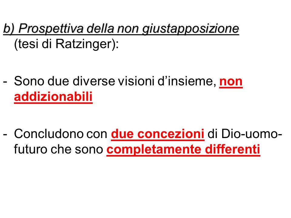 b) Prospettiva della non giustapposizione b) Prospettiva della non giustapposizione (tesi di Ratzinger): -Sono due diverse visioni dinsieme, non addiz