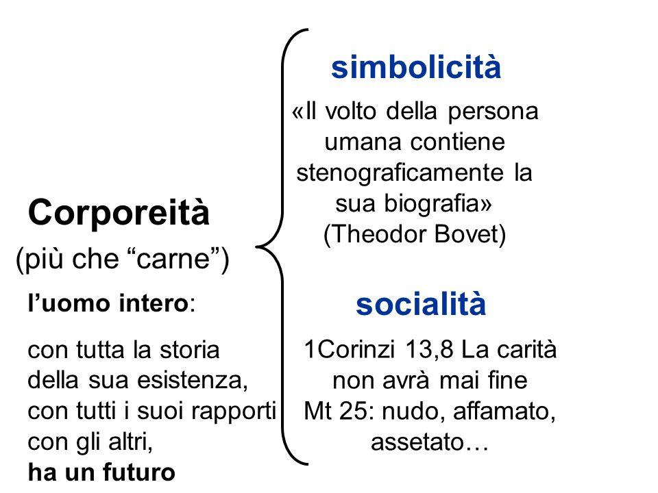 simbolicità Corporeità (più che carne) socialità «Il volto della persona umana contiene stenograficamente la sua biografia» (Theodor Bovet) 1Corinzi 1