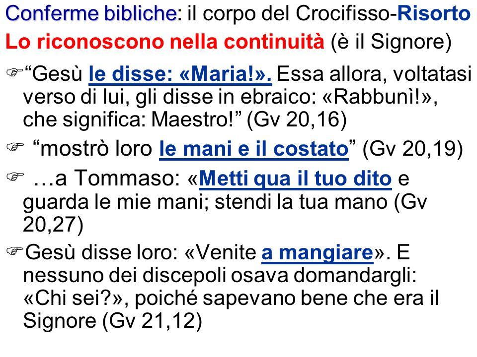 Conferme bibliche Conferme bibliche: il corpo del Crocifisso-Risorto Lo riconoscono nella continuità (è il Signore) Gesù le disse: «Maria!». Essa allo