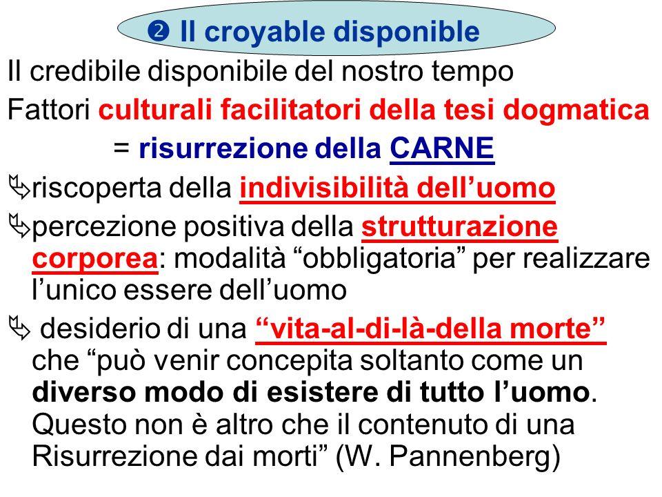 Il croyable disponible Il credibile disponibile del nostro tempo Fattori culturali facilitatori della tesi dogmatica = risurrezione della CARNE riscop