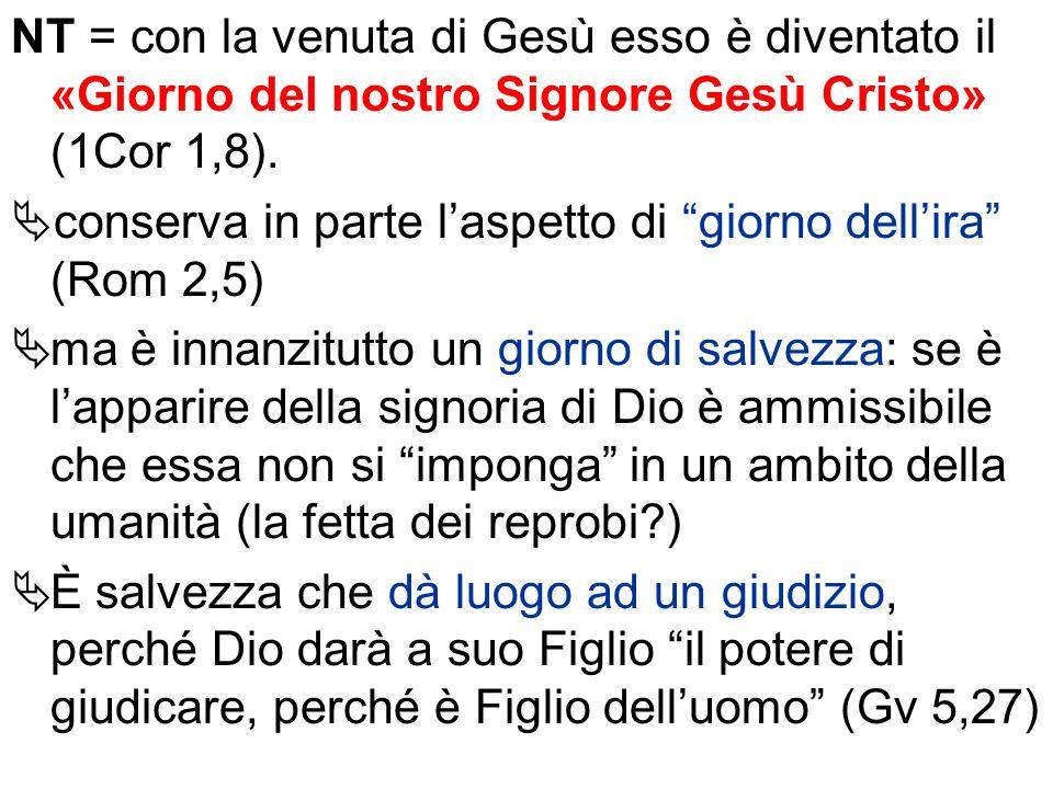 NT = con la venuta di Gesù esso è diventato il «Giorno del nostro Signore Gesù Cristo» (1Cor 1,8). conserva in parte laspetto di giorno dellira (Rom 2