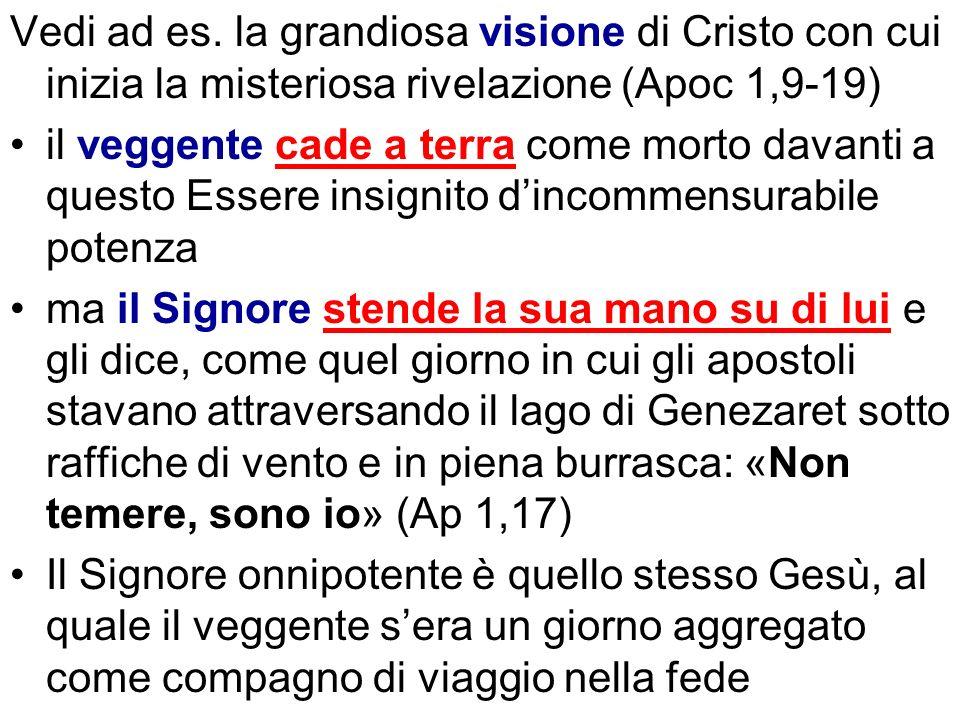 Vedi ad es. la grandiosa visione di Cristo con cui inizia la misteriosa rivelazione (Apoc 1,9-19) il veggente cade a terra come morto davanti a questo