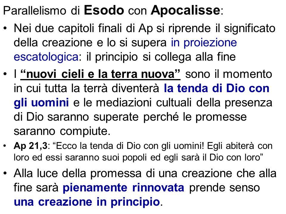 Parallelismo di Esodo con Apocalisse : Nei due capitoli finali di Ap si riprende il significato della creazione e lo si supera in proiezione escatolog