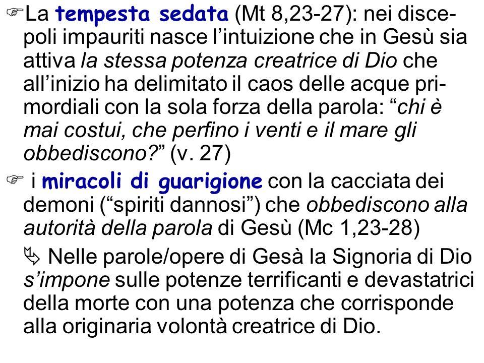 La tempesta sedata (Mt 8,23-27): nei disce- poli impauriti nasce lintuizione che in Gesù sia attiva la stessa potenza creatrice di Dio che allinizio h