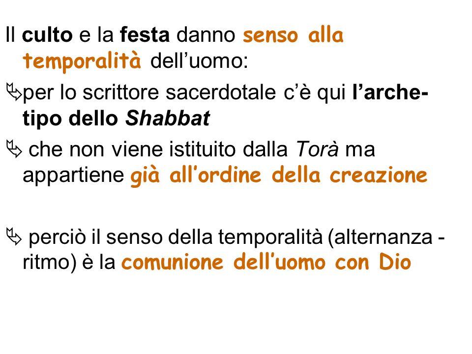 Il culto e la festa danno senso alla temporalità delluomo: per lo scrittore sacerdotale cè qui larche- tipo dello Shabbat che non viene istituito dall