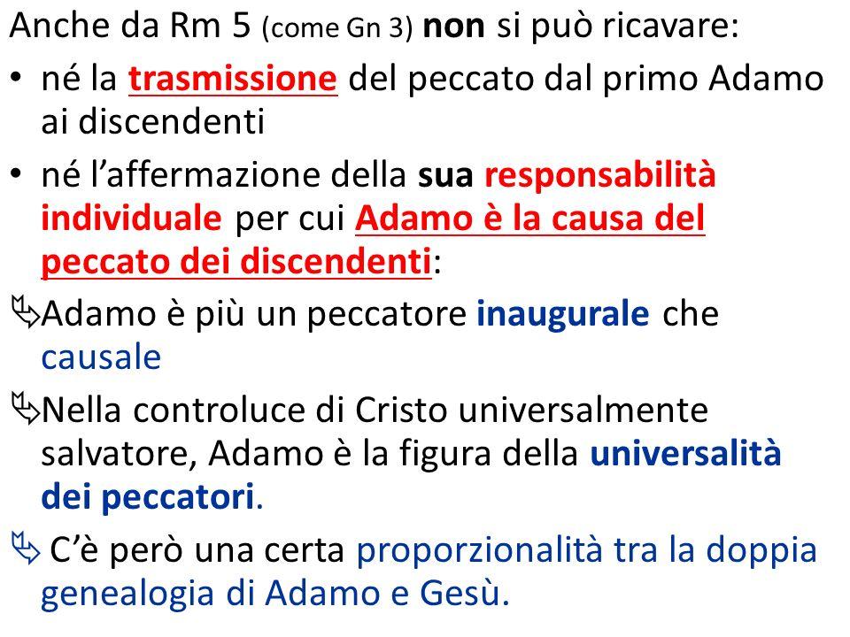 Anche da Rm 5 (come Gn 3) non si può ricavare: né la trasmissione del peccato dal primo Adamo ai discendenti né laffermazione della sua responsabilità