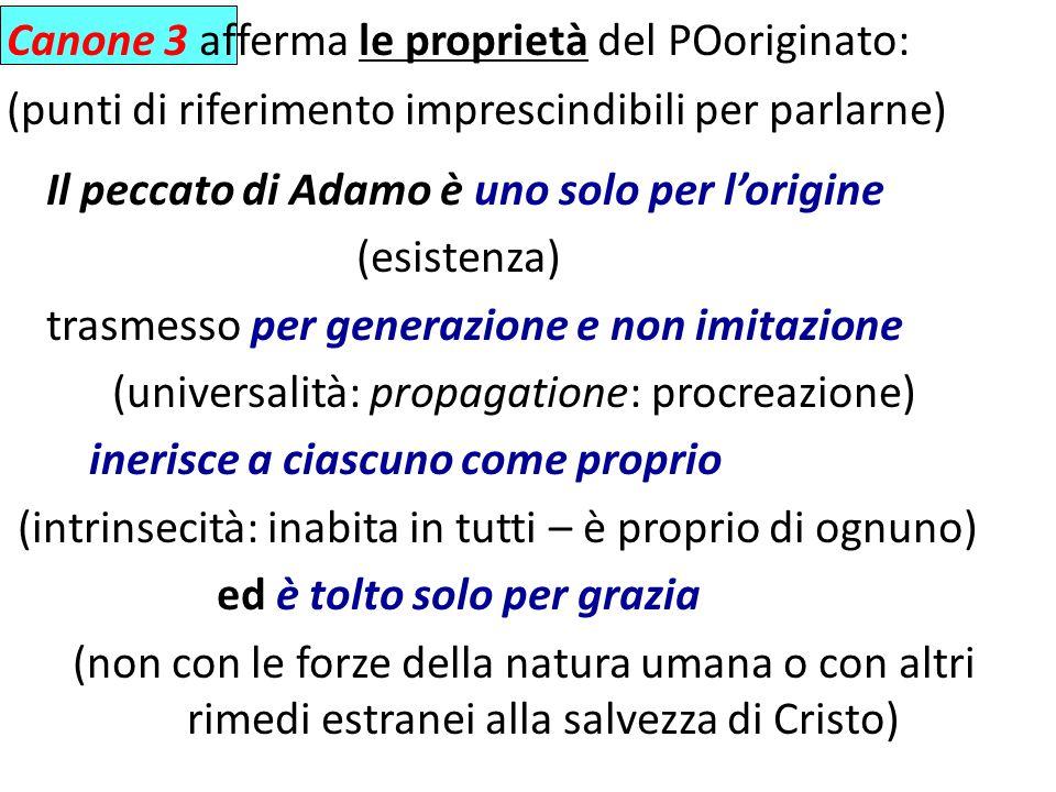 Canone 3 afferma le proprietà del POoriginato: (punti di riferimento imprescindibili per parlarne) Il peccato di Adamo è uno solo per lorigine (esiste