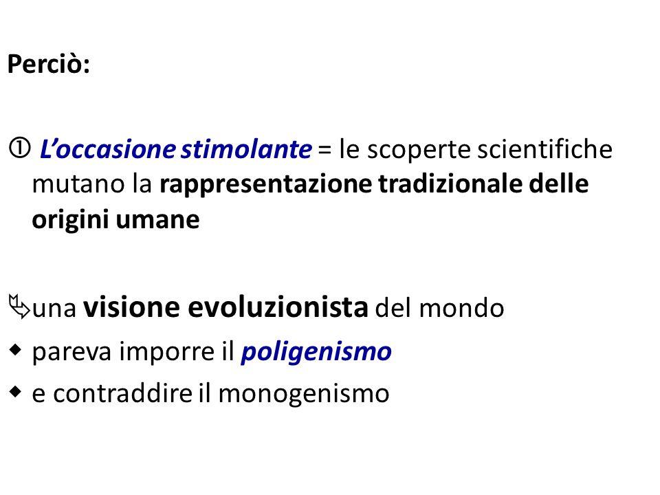 Perciò: Loccasione stimolante = le scoperte scientifiche mutano la rappresentazione tradizionale delle origini umane una visione evoluzionista del mon