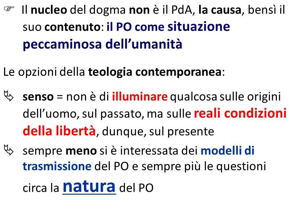 Il nucleo del dogma non è il PdA, la causa, bensì il suo contenuto: il PO come situazione peccaminosa dellumanità Le opzioni della teologia contempora