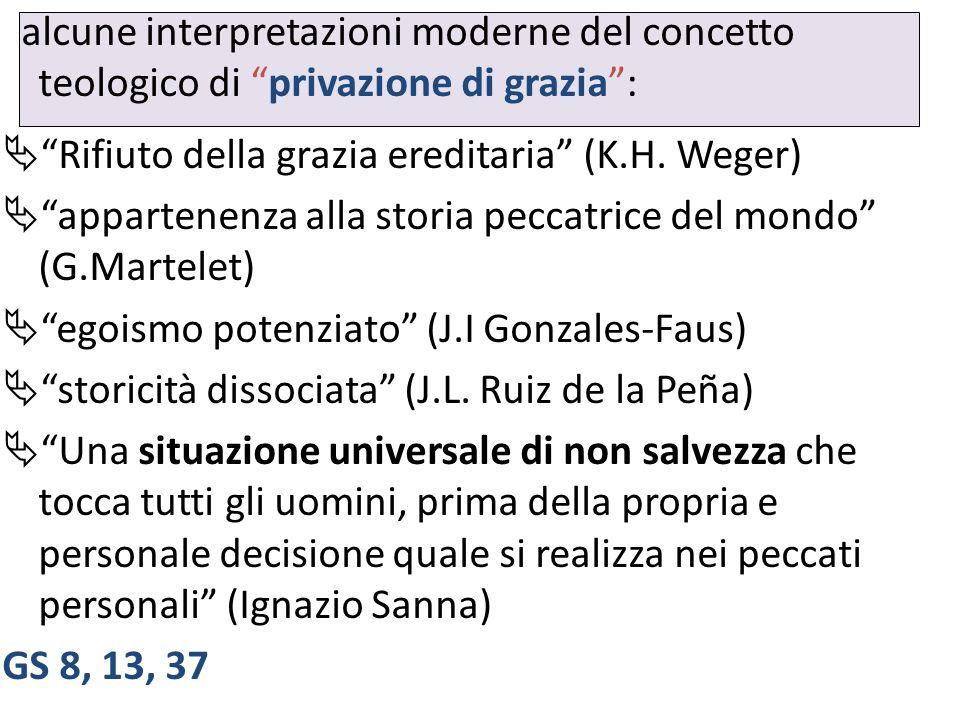 alcune interpretazioni moderne del concetto teologico di privazione di grazia: Rifiuto della grazia ereditaria (K.H. Weger) appartenenza alla storia p