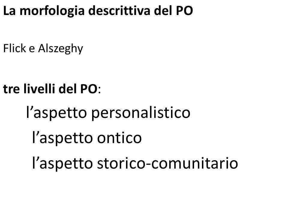 La morfologia descrittiva del PO Flick e Alszeghy tre livelli del PO: laspetto personalistico laspetto ontico laspetto storico-comunitario