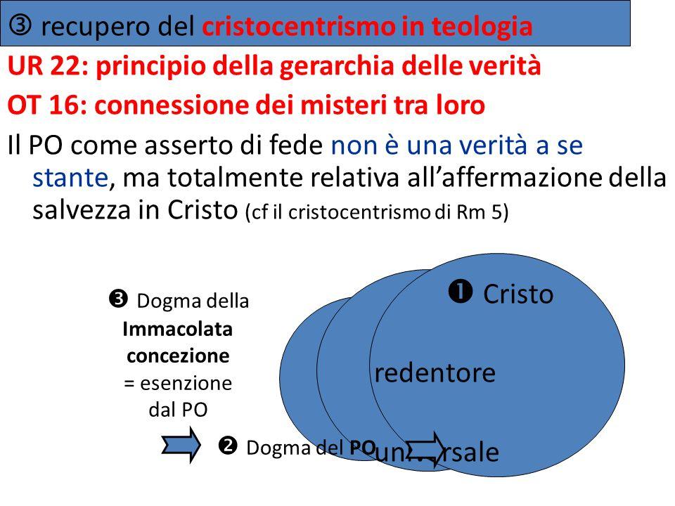 recupero del cristocentrismo in teologia UR 22: principio della gerarchia delle verità OT 16: connessione dei misteri tra loro Il PO come asserto di f