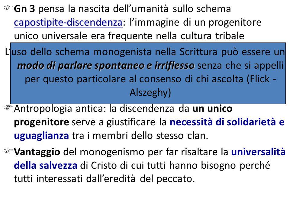 capostipite-discendenza Gn 3 pensa la nascita dellumanità sullo schema capostipite-discendenza: limmagine di un progenitore unico universale era frequ