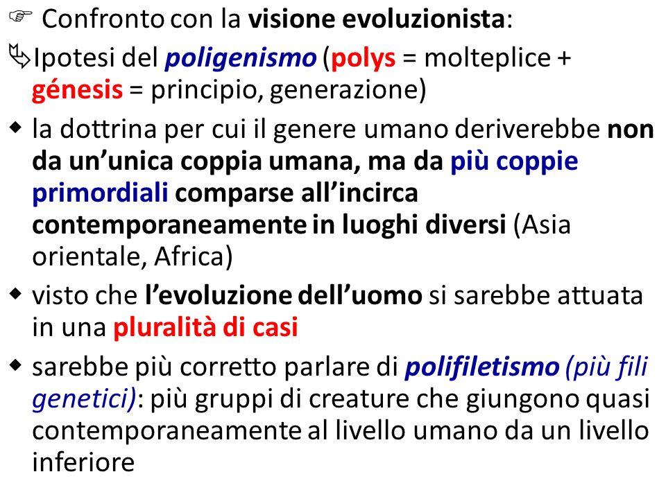 Confronto con la visione evoluzionista: Ipotesi del poligenismo (polys = molteplice + génesis = principio, generazione) la dottrina per cui il genere