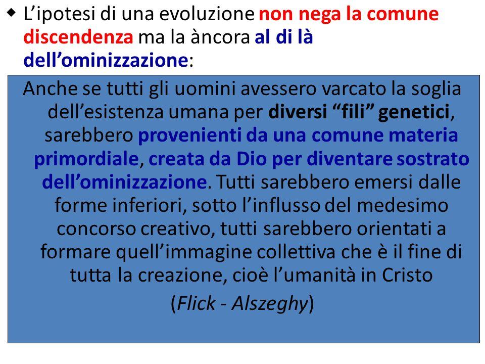Lipotesi di una evoluzione non nega la comune discendenza ma la àncora al di là dellominizzazione: Anche se tutti gli uomini avessero varcato la sogli