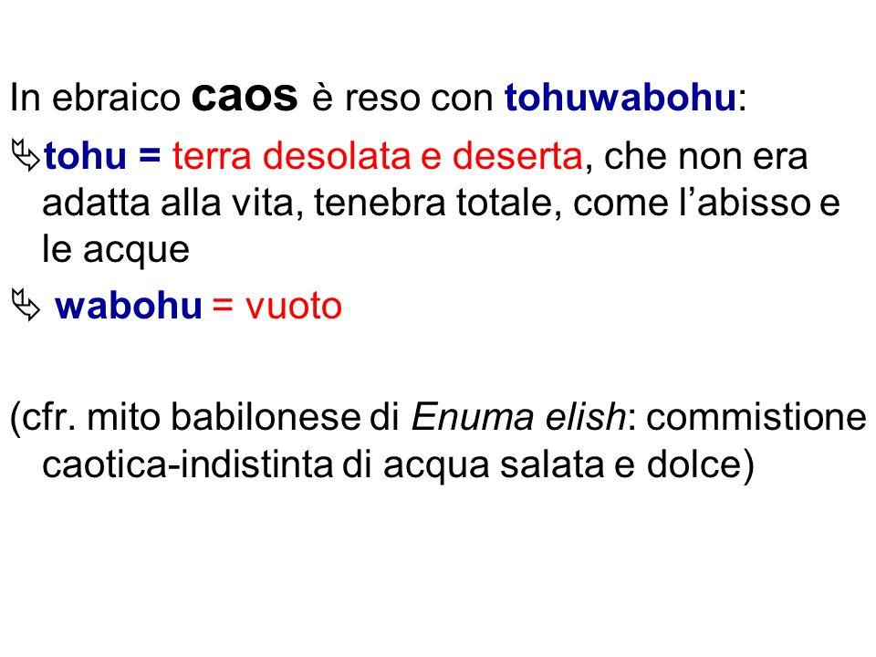 In ebraico caos è reso con tohuwabohu: tohu = terra desolata e deserta, che non era adatta alla vita, tenebra totale, come labisso e le acque wabohu =