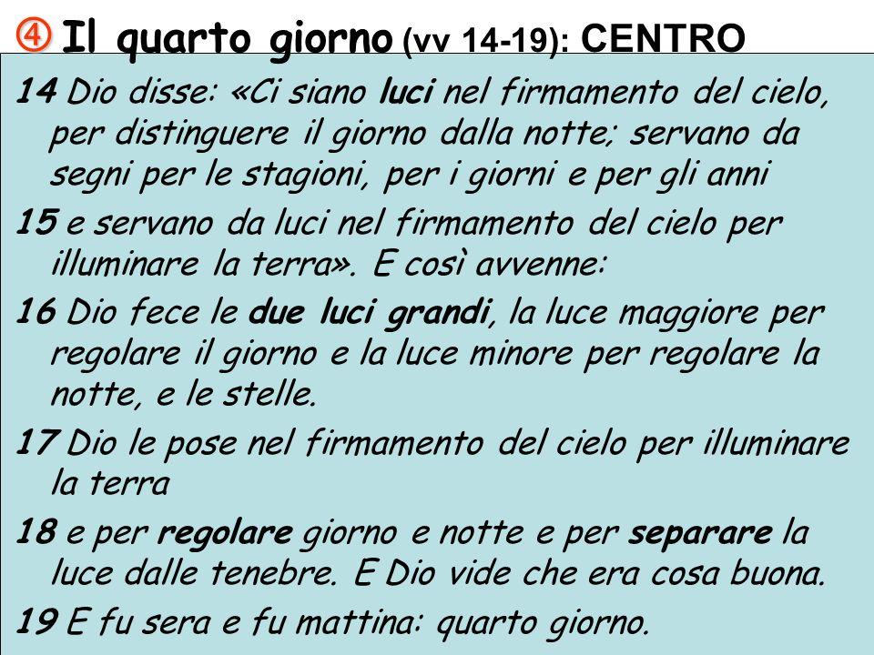 Il quarto giorno (vv 14-19): CENTRO 14 Dio disse: «Ci siano luci nel firmamento del cielo, per distinguere il giorno dalla notte; servano da segni per