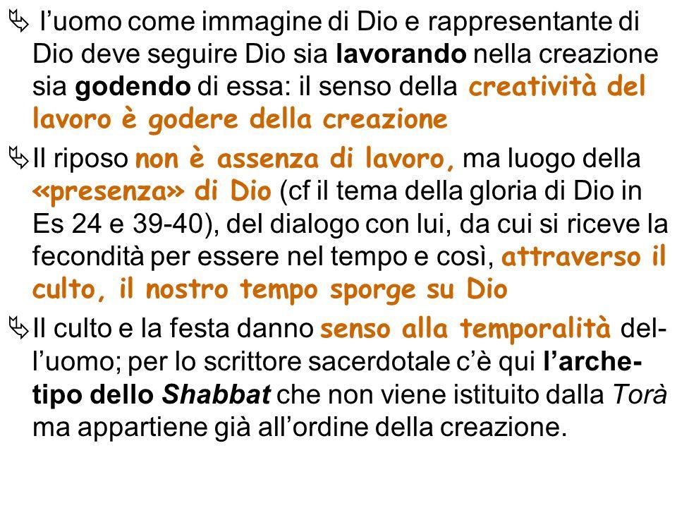 luomo come immagine di Dio e rappresentante di Dio deve seguire Dio sia lavorando nella creazione sia godendo di essa: il senso della creatività del l