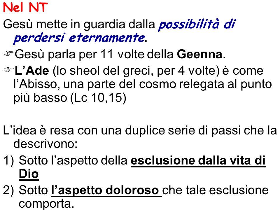 1)Espressioni che significano la negazione della comunione con Dio che costituisce la beatitudine: -perdere la vita (Mc 8,35) -perdere anima e corpo nella Geenna (Mt 10,28) Se conoscere indica la vita eterna sotto il profilo del comunicare nella sfera di una rela- zione interpersonale, alcune formule indicano il contrario: - Io lo rinnegherò davanti al Padre mio (Mt 10,33) -Non vi conosco (Mt 25,12; Mt 7,23) -Non so di dove siete (Lc 13,25-27)