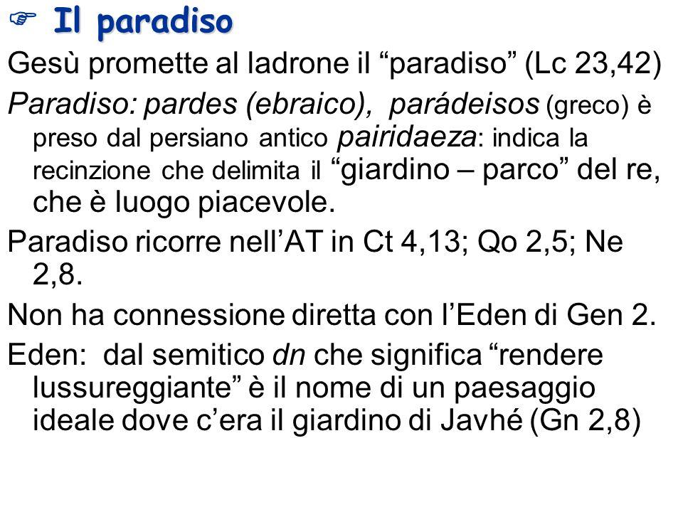 Il paradiso Gesù promette al ladrone il paradiso (Lc 23,42) Paradiso: pardes (ebraico), parádeisos (greco) è preso dal persiano antico pairidaeza : in