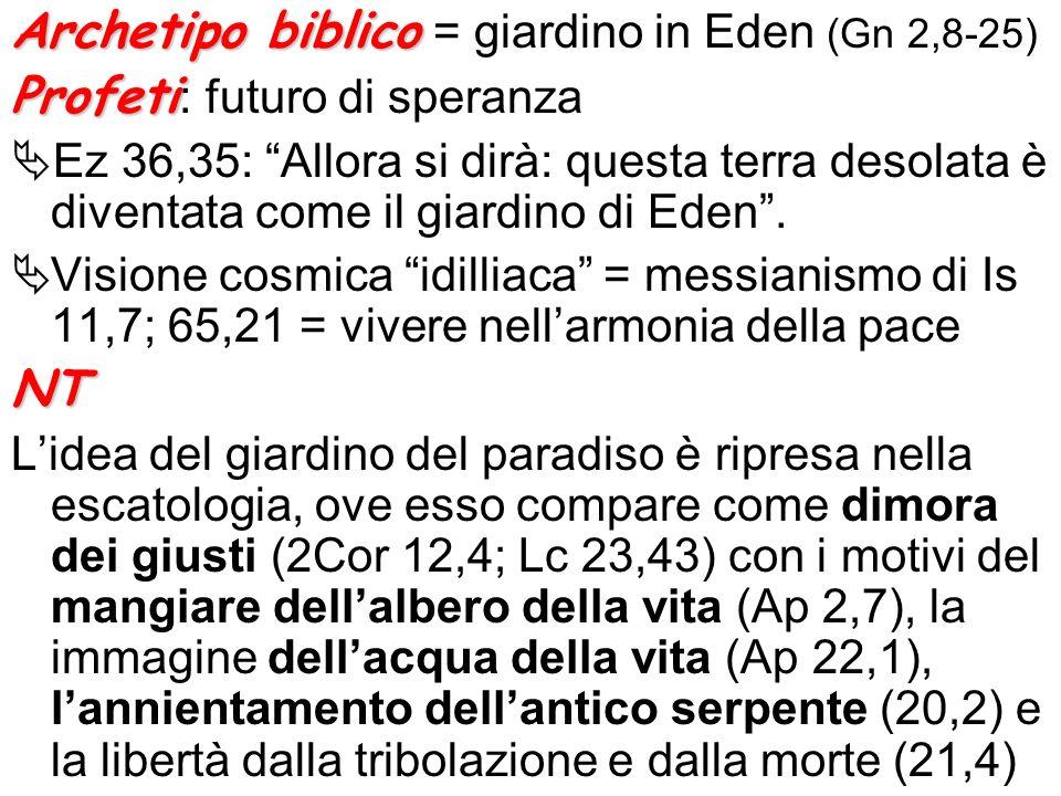Archetipo biblico Archetipo biblico = giardino in Eden (Gn 2,8-25) Profeti Profeti : futuro di speranza Ez 36,35: Allora si dirà: questa terra desolat