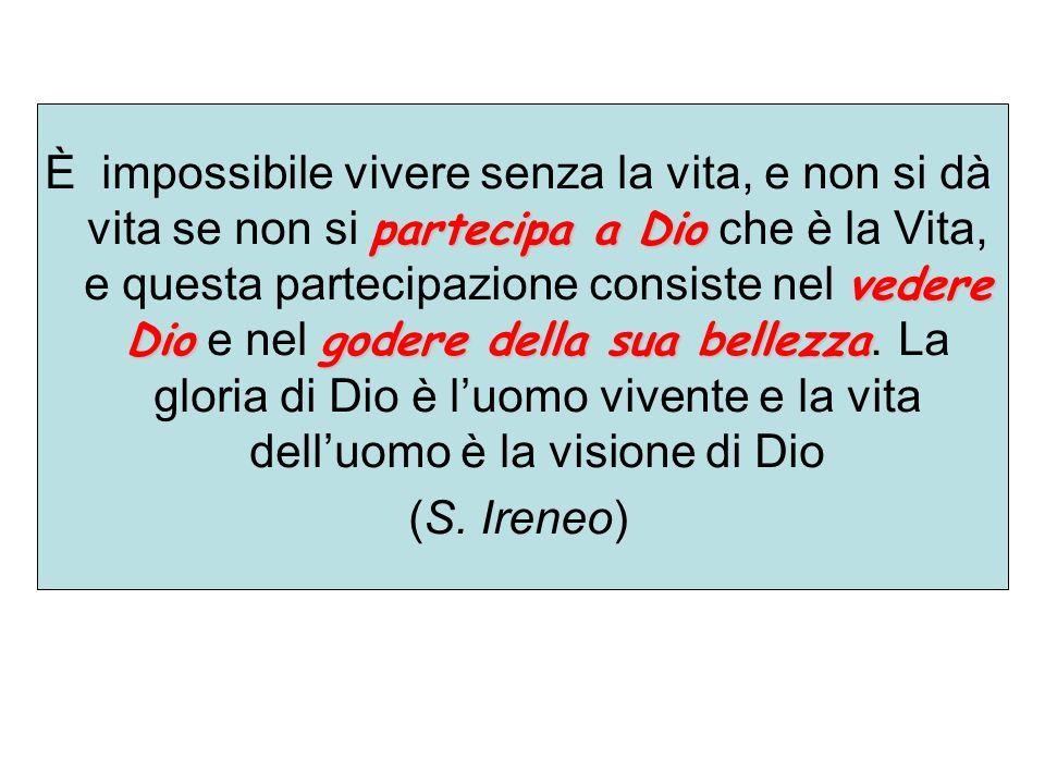 partecipa a Dio vedere Diogodere della sua bellezza È impossibile vivere senza la vita, e non si dà vita se non si partecipa a Dio che è la Vita, e qu