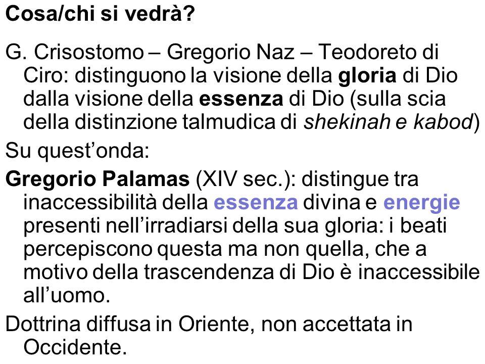 Cosa/chi si vedrà? G. Crisostomo – Gregorio Naz – Teodoreto di Ciro: distinguono la visione della gloria di Dio dalla visione della essenza di Dio (su