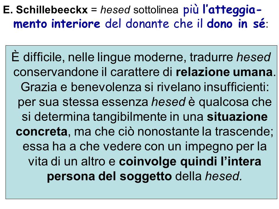 E. Schillebeeckx = hesed sottolinea più latteggia- mento interiore del donante che il dono in sé : È difficile, nelle lingue moderne, tradurre hesed c